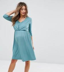 ASOS Maternity NURSING Drape Front Dress - Green