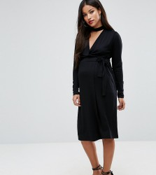 ASOS Maternity NURSING Dress with Wrap and Choker Detail - Black