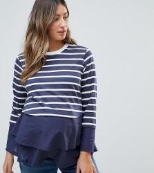 ASOS Maternity NURSING Long Sleeve Double Layer Top in Navy Stripe - Multi