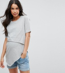 ASOS Maternity NURSING Short Sleeve Asymmetric Top with Double Layer - Grey