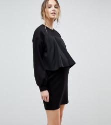 ASOS MATERNITY NURSING Sweat Dress with Woven Overlay - Black