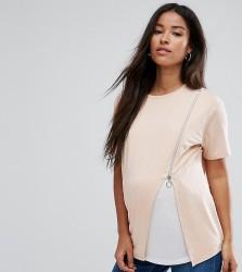 ASOS Maternity NURSING Zip Side Drape T-Shirt - Pink