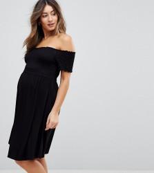 ASOS MATERNITY Off Shoulder Sundress with Shirring - Black