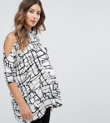 ASOS Maternity PETITE Top With Cold Shoulder and High Neck in Scratchy Abstract Print - Multi