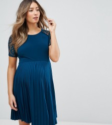 ASOS Maternity Pleat and Lace Mini Dress - Blue