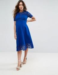 ASOS Maternity Premium Lace Insert Midi Dress - Blue