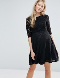 ASOS Maternity Premium Skater Dress in Lace - Black