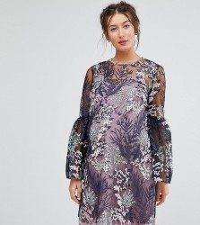 ASOS Maternity Pretty Enchanted Lace Smock Mini Dress - Multi