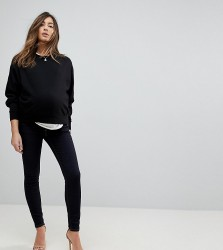 ASOS MATERNITY RIDLEY High Waist Skinny Jeans In Raw Indigo With Tobacco Threads With Under The Bump Waistband - Blue