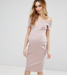 ASOS Maternity Scallop Off the Shoulder Midi Pencil Dress in Scuba - Pink