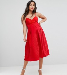 ASOS Maternity Scuba Quilted Prom Midi Dress with Gathered Bodice - Red