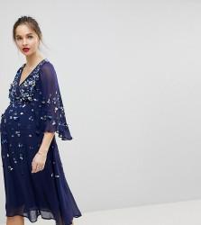 ASOS MATERNITY Sequin Kimono Midi Dress - Navy