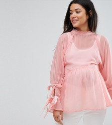 ASOS Maternity Smock Top with Tie Sleeves - Pink