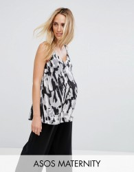ASOS Maternity Swing Cami in Abstract Camo - Multi