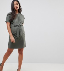 ASOS MATERNITY T-Shirt Dress With Tie Front Detail - Green