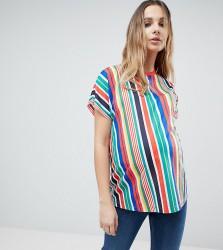 ASOS MATERNITY T-Shirt In Vertical Rainbow Stripe - Multi
