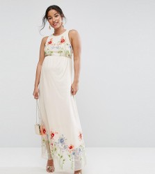 ASOS Maternity TALL Embroidery Mesh Maxi Dress - Pink