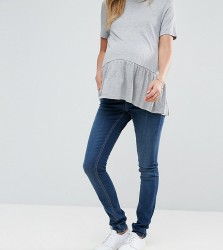 ASOS Maternity TALL Ridley Skinny Jean in Midwash With Over The Bump Waistband - Blue