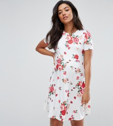 ASOS Maternity TALL Swing Dress in Floral Print - White