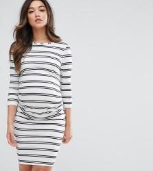 ASOS Maternity TALL Twin Stripe Bodycon Dress - White