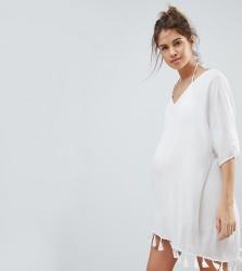 ASOS Maternity Tassel Fringed Beach Kaftan Cover Up - White