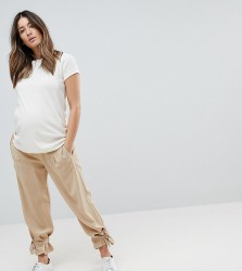 ASOS MATERNITY Tie Hem Tencel Trousers with Under the Bump Waistband - Brown