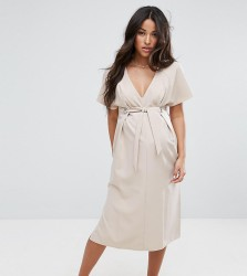ASOS Maternity V Neck Column Midi Dress with Eyelet and Tie - Beige