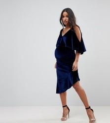 ASOS MATERNITY Velvet Midi Bodycon Dress with Asymmetric Hem - Navy