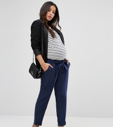 ASOS MATERNITY Woven Peg Trousers with OBI Tie - Navy