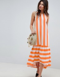 ASOS Maxi Dress With Racer Back and Hi Lo Pep Hem In Deckchair Stripe - Multi