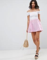 ASOS Mini Skater Skirt in Cotton Poplin with Pockets - Pink