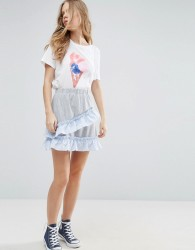 ASOS Mini Skater Skirt with Stripe Woven Trim - Grey