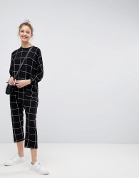 ASOS Minimal Jersey Jumpsuit with Batwing Sleeve in Check Print - Black