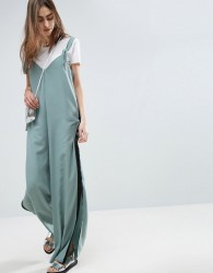 ASOS Minimal Wide Leg Jumpsuit With Side Stripe and Splits - Blue