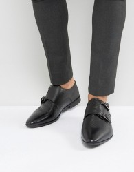 ASOS Monk Shoes In Black Leather With Emboss Detail - Black