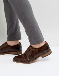 ASOS Monk Shoes In Brown Leather With Brogue Detail - Brown