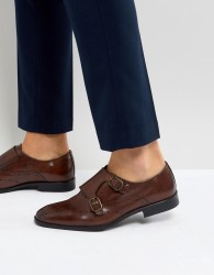 ASOS Monk Shoes In Brown Leather With Diamond Punching - Brown