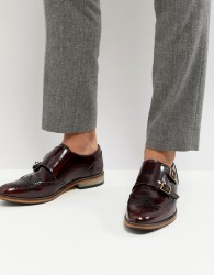 ASOS Monk Shoes In Burgundy Leather With Natural Sole - Red