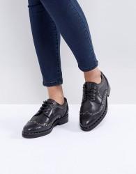 ASOS MONTEREY Leather Studded Flat Shoes - Black