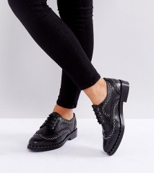 ASOS MONTEREY Wide Fit Leather Studded Flat Shoes - Black