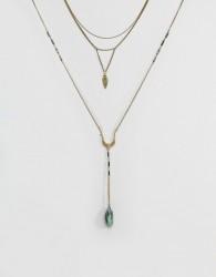 ASOS Multirow Bolo Stone Charm Necklace - Gold