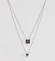 ASOS Multirow Necklace with Recycled Denim Stones - Silver