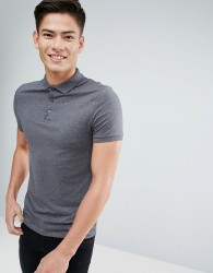 ASOS Muscle Fit Jersey Polo - Grey