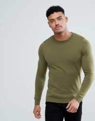 ASOS Muscle Fit Jumper In Khaki - Green