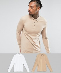 ASOS Muscle Fit Long Sleeve Jersey Polo 2 Pack SAVE - Multi