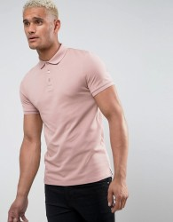 ASOS Muscle Fit Pique Polo In Pink - Pink