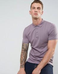ASOS Muscle Fit Pique Polo In Purple - Purple