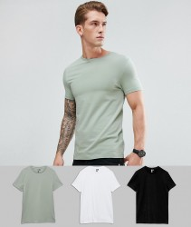 ASOS Muscle Fit T-Shirt With Crew Neck 3 Pack SAVE - Multi