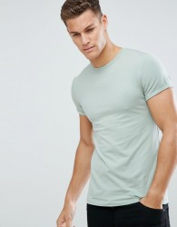 ASOS Muscle Fit T-Shirt With Roll Sleeve - Green