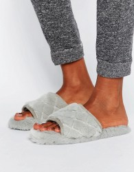 ASOS NITA Quilted Loungewear Slippers - Grey